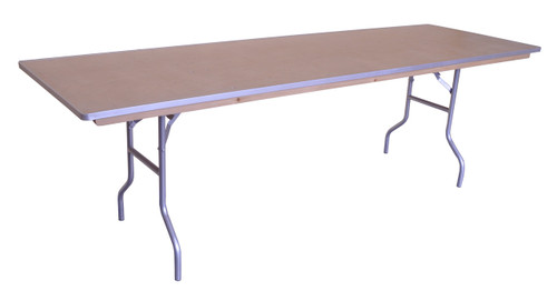 "8' x 30"" Rectangular Wood Banquet Table Left Angle"