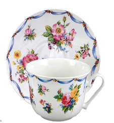 "SALE PRICED- Heirloom""Dresden"" English Bone China Cup and Saucer"