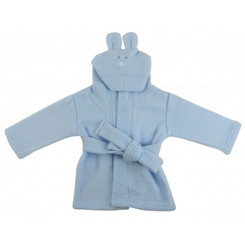 Blue 100% polyester fleece hooded baby bathrobe
