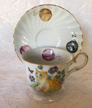 """""""Cats"""" 5 oz porcelain cup and saucer by Fielder"""