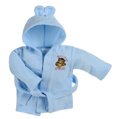 Blue Fleece Baby Robe with Rabbit Ears Hoodie and Embroidered Owl Design