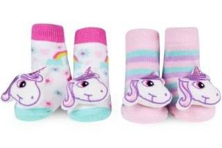 Baby Girl Rattle Socks with Unicorn Rattle on Toe - Set of Two Pairs, by Waddle