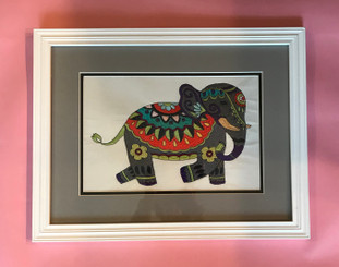 Colorful Painted Elephant Embroidered Framed Artwork
