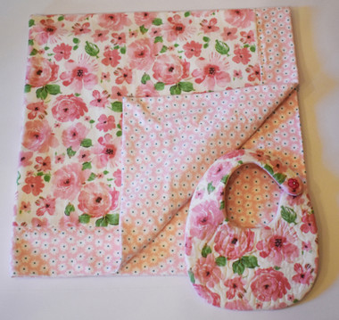 Self Binding Double Sided Flannel Receiving Blanket and Matching Bib