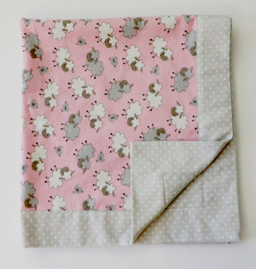 Flannel double sided pink receiving blanket with sheep design