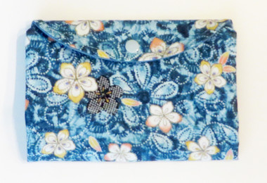 Ladies blue cotton fabric wallet with magnetic closure
