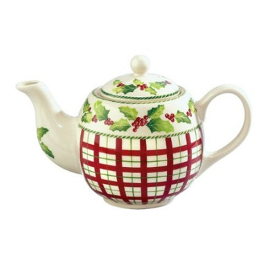 Holly Berry porcelain 32 oz porcelain teapot with infuser