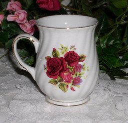Set of six rose porcelain 8 oz mugs.