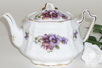 3 Cup Oval Porcelain Teapot with Gold Trim, by Fielder