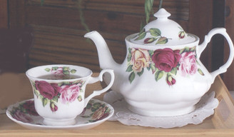 Garden Rose'  English Bone China cup and saucer by BH Imports