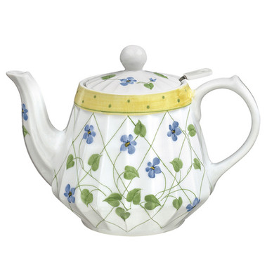 32 oz porcelain teapot with infuser.  White with lattice pattern.  Blue flowers and green leaves.