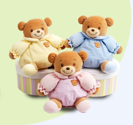 Baby Bow 8-1/2' Pink or Yellow Teddy Bear  With Built-In Rattle