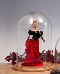 Glass Doll Display Dome with Oak Base 5.5' ia x 13' High