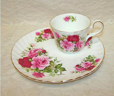 Summertime Rose English Bone China  Hostess Set by Heirloom