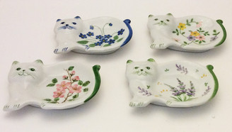 Cat porcelain teabag caddy - set of four