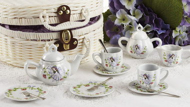 Delton Kids Porcelain Tea Set for Two in Fabric Lined White Wicker Basket