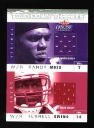 2003 Fleer TD Threats Terrell Owens Randy Moss Dual Game Used Jersey 001/200
