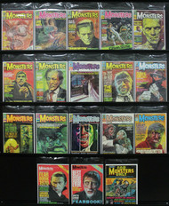 FAMOUS MONSTERS LOT, KARLOFF, LON CHANEY JR. LUGOSI, 17 ISSUES IN ALL