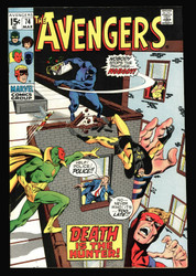 AVENGERS #74 VS. THE BLACK PANTHER, SOLID NEAR MINT, VISION WASP