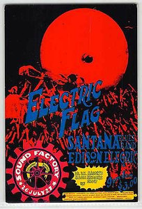 Electric Flag, Santana Original Handbill Sound Factory Sacramento 1968 Rare Mint