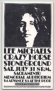 Lee Michaels Stoneground Handbill Memorial Auditorium Sacramento July 1971 MINT