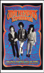 Jimi Hendrix Rock and Roll Hall of Fame Induction Poster Signed by Gary Grimshaw
