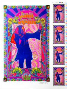 Janis Joplin Poster Psychedelic Explosion Orig Rare Uncut Proof Signed Bob Masse