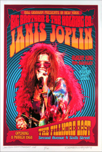 Janis Joplin Poster New Original Fillmore East Tribute S/N 100 by David Byrd