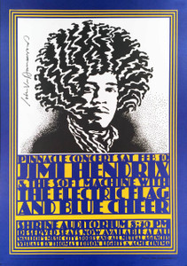 Jimi Hendrix Poster Shrine Auditorium 4th Print Hand-Signed John Van Hamersveld