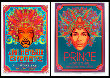 Jimi Hendrix Prince Two Poster Set DNA Lounge Fillmore East Signed David Byrd