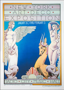 NEW YORK Art Deco Exposition 1973 Full-Sized Poster Hand-Signed by David Byrd