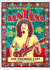 Santana Poster Fillmore East 1969 Historic Artist Edition Hand-Signed David Byrd