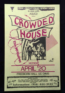 "CROWDED HOUSE Poster the McGuires Freeborn Hall UC Davis 1987 Original 11"" x 17"""