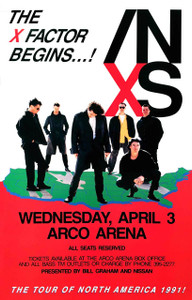 INXS Poster X Factor North American Tour ARCO Arena Sacramento 1991 Original NM