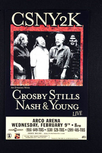 Crosby Stills Nash & Young Poster ARCO Arena Sacramento 2000 Original NM
