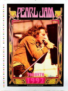 Pearl Jam Concert Poster Toronto Original 1992 Uncut Proof Signed by Bob Masse