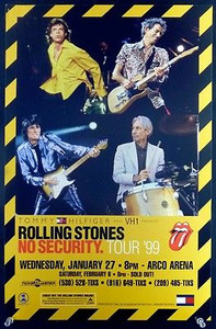 Rolling Stones Original Tour Poster Bill No Security 1999 Arco Arena Sacramento