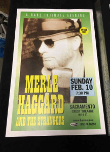 "MERLE HAGGARD and STRANGERS 11"" x 17"" HANDBILL POSTER CREST THEATER Sacramento"