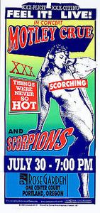 Motley Crue Poster Scorpions Original Vintage Portland 1999 Signed Mark Arminski
