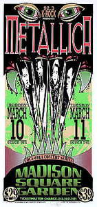 Metallica Poster Madison Square Garden Signed Silkscreen by Arminski