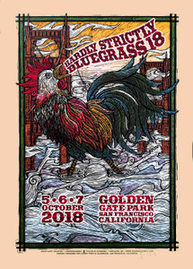 Hardly Strictly Bluegrass Poster 2018 Orig Signed Silkscreen Gary Houston w/COA