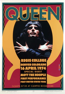 QUEEN Poster Regis College Celebrating 1st US Performance in 1974 S/N David Byrd