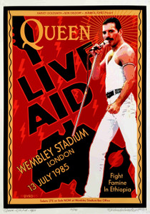 QUEEN Poster Live Aid Wembley 1985 New Tribute Hand-Signed David Byrd S/N/COA