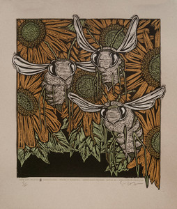 """Bees"" Beautiful Silkscreen Print by Gary Houston Honors a Valued Insect Friend"