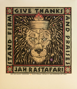 Stand Firm Give Thanks And Praises Jah Rastafari S/N Poster Signed Gary Houston