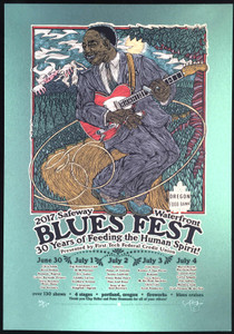 Waterfront Blues Poster 2017 Booker T Big Head Blues Chris Isaak SN Gary Houston