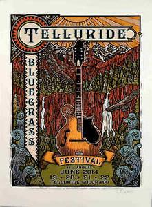 Telluride Bluegrass Festival Poster June 2014 Hand-Signed Gary Houston COA