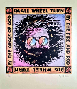"Great Signed Gary Houston Poster ""The Wheel"" Lyrics Jerry Garcia Grateful Dead"