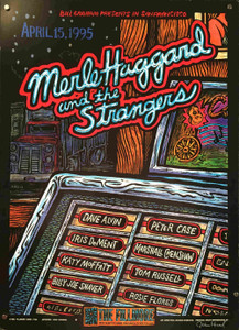 Merle Haggard & Strangers Poster The Fillmore 1995 Hand-Signed John Howard
