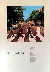 "Beatles Poster Abbey Road 24"" x 36"" Heavy Stock Determined Productions 1987 COA"